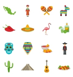 Mexico flat icon set vector