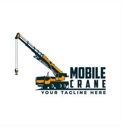 mobile crane logo vector image