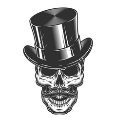 monochrome skull with top hat and vector image