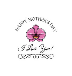 mothers day greeting card pink orchid swirls vector image
