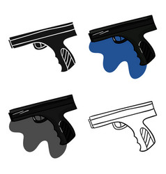 Paintball hand gun icon in cartoon style isolated vector