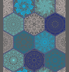 Pattern in style of colorful floral patchwork vector