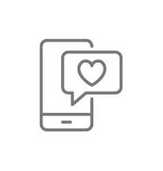 phone with heart bubble love chat like message vector image