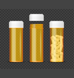 realistic detailed 3d orange pills bottle empty vector image