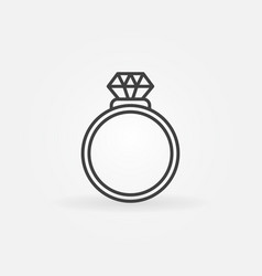 Ring with diamond outline icon engagement vector