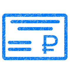 Rouble cheque grunge icon vector