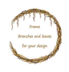 round frame with branches and leaves vector image