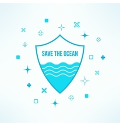 Save the ocean background with shield in vector