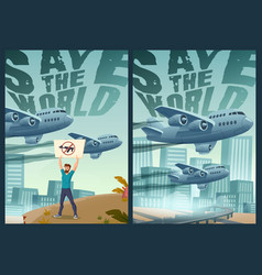 Save the world cartoon posters stop war concept vector