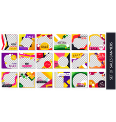 set colorful retail and fashion sales banners vector image