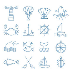 set nautical icons in modern thin line style vector image