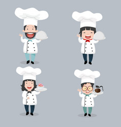 set of chef characters vector image