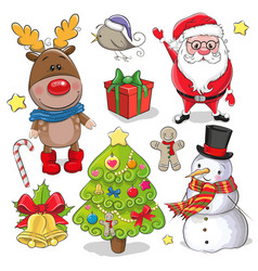 Set of cute christmas design elements vector