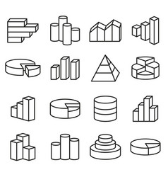 set of financial icons line style bars graph vector image