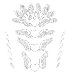 set of of hearts wings vector image