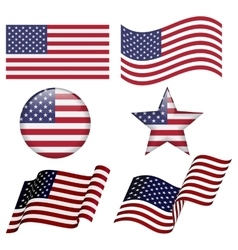 Set of USA flag designs vector image
