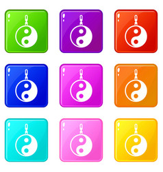 Sign yin yang set 9 vector