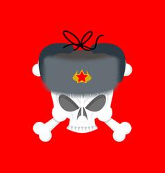 skull in fur hat symbol of specter of communism vector image