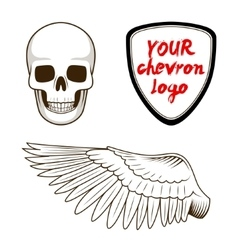 Skull wing and chevron label vector