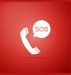 Sos call icon isolated on red background vector