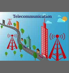 Telecommunication tower and transmitter tower vector