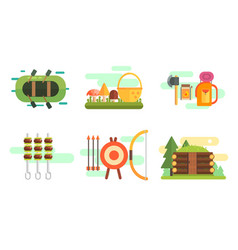 tourist equipment set camping elements summer vector image