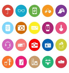 Travel luggage preparation flat icons on white vector