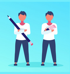 Two businessmen holding pencil eraser business vector