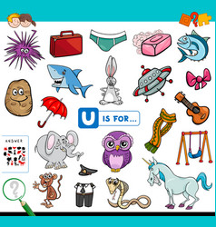 U is for educational game for children vector