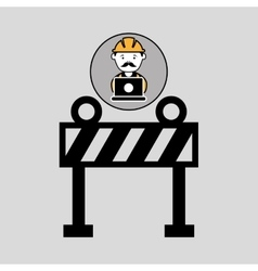 Under construction laptop worker barrier vector