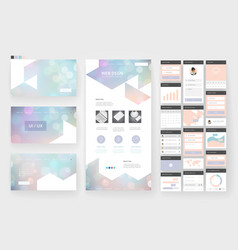 website design template and interface elements vector image