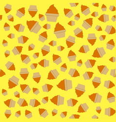 yellow orange cream cupcake seamless pattern vector image
