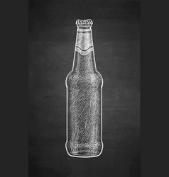 chalk sketch of beer bottle vector image