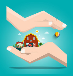 landscape with houses in human hands vector image vector image