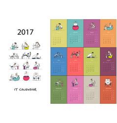 Office workers calendar 2017 design vector