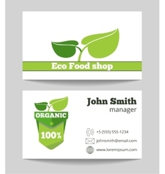 Organic eco food shop business card vector image