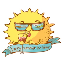 sun character with cocktail vector image vector image