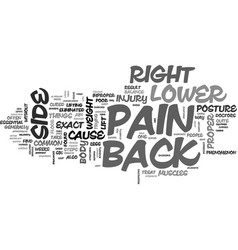 Back pain on lower right side easily curable text vector