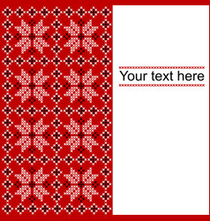 Card with ethnic ornament design in whitered and vector
