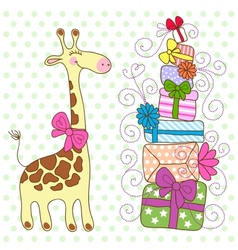 Cute Giraffe with a lot of gifts vector image vector image
