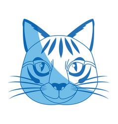 Head feline wildlife stripes animal icon vector