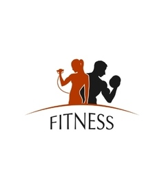 label fitness club with the image of women and men vector image vector image