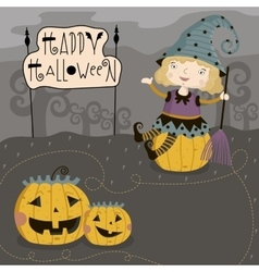 Little girl sits on pumpkin vector image