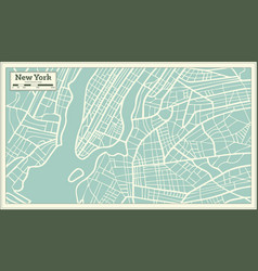 New york usa map in retro style vector