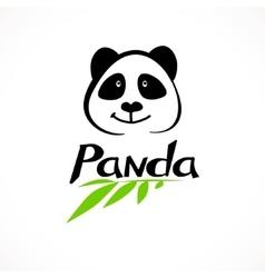 Panda logo bamboo icon vector image