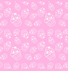 soft pink seamless pattern with cute cupcakes vector image vector image