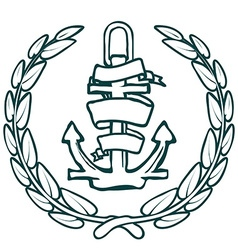 Anchor with Banner and laurel vector image vector image