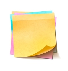 Different colorful sticky notes in pile on white vector image