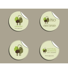 Set of green organic labels - stickers for natural vector image