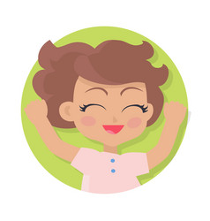 smiling girl with raised hands brown wavy hair vector image vector image